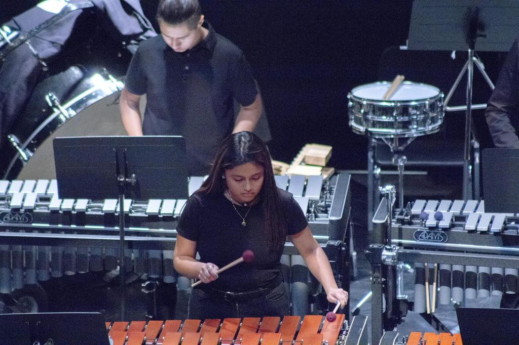 Two members of the percussion ensemble
