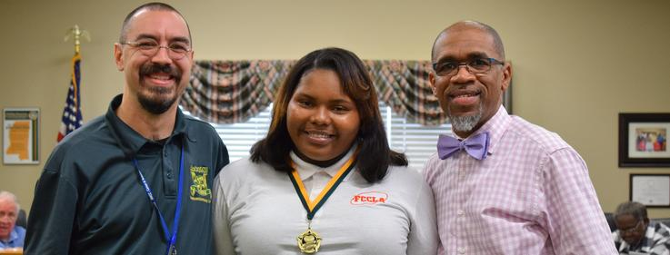 FCLLA Students recognized during a school board meeting.