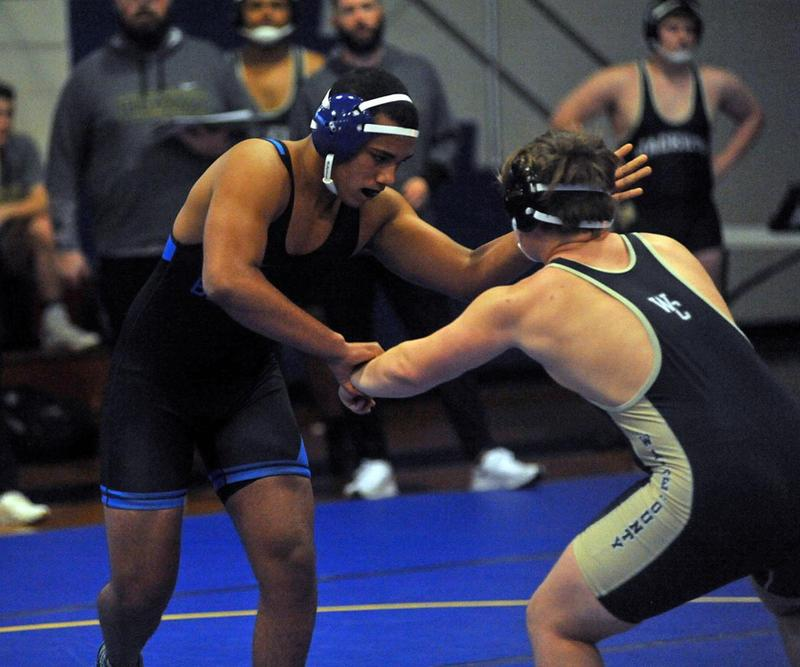 Brunswick High's Anthony Lowe wrestles against Wayne County on Wednesday.