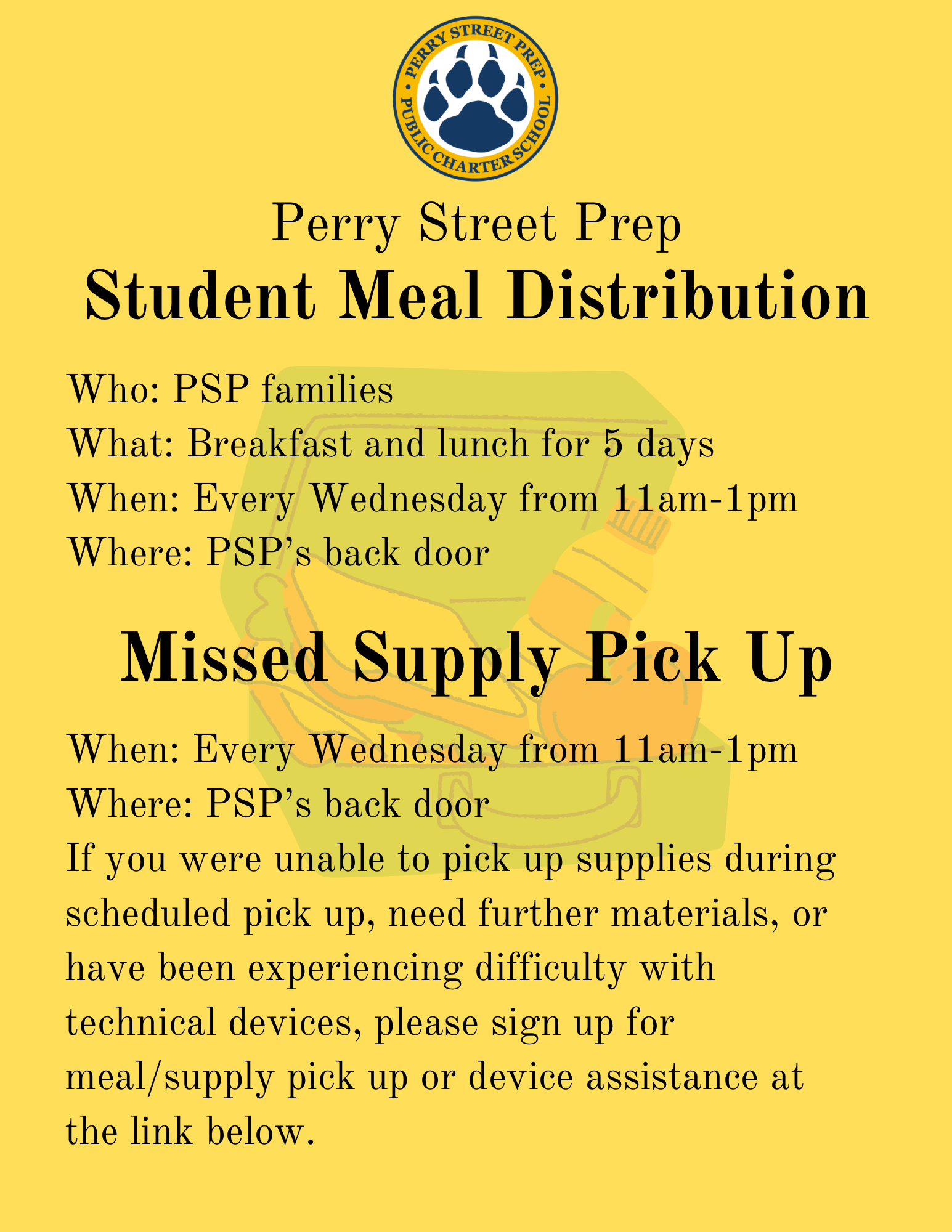 Weekly Meal and Supply Pick Up Image