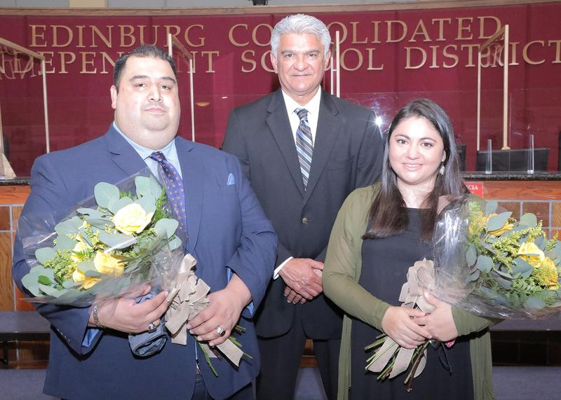 Edinburg CISD announces 2021-2022 District Teachers of the Year. Pictured (L-R): District Elementary Teacher of the Year Miguel Leija, ECISD Superintendent Dr. Mario Salinas, and District Secondary Teacher of the Year Angela Rodriguez.