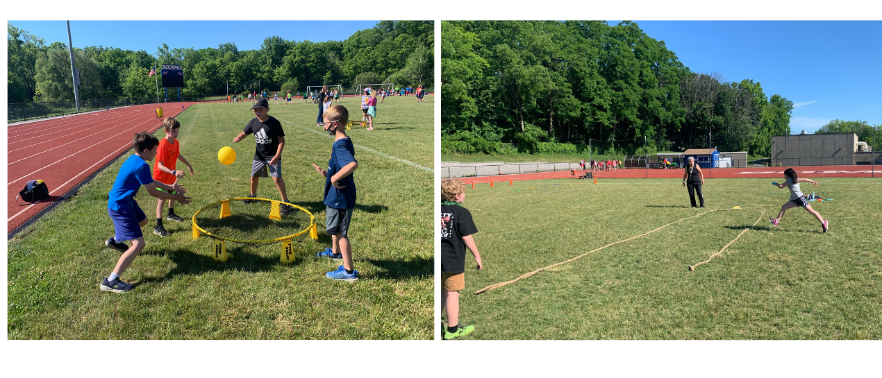 students participating in field day games
