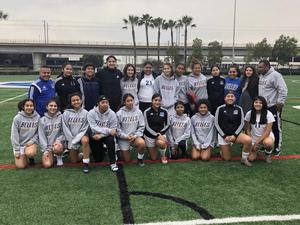 Girls soccer team on field