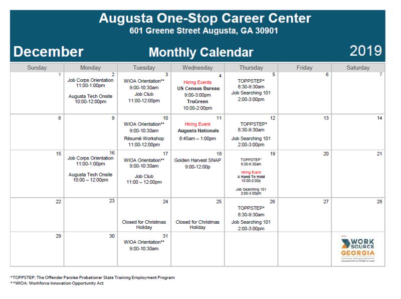 Career Center Monthly Calendar