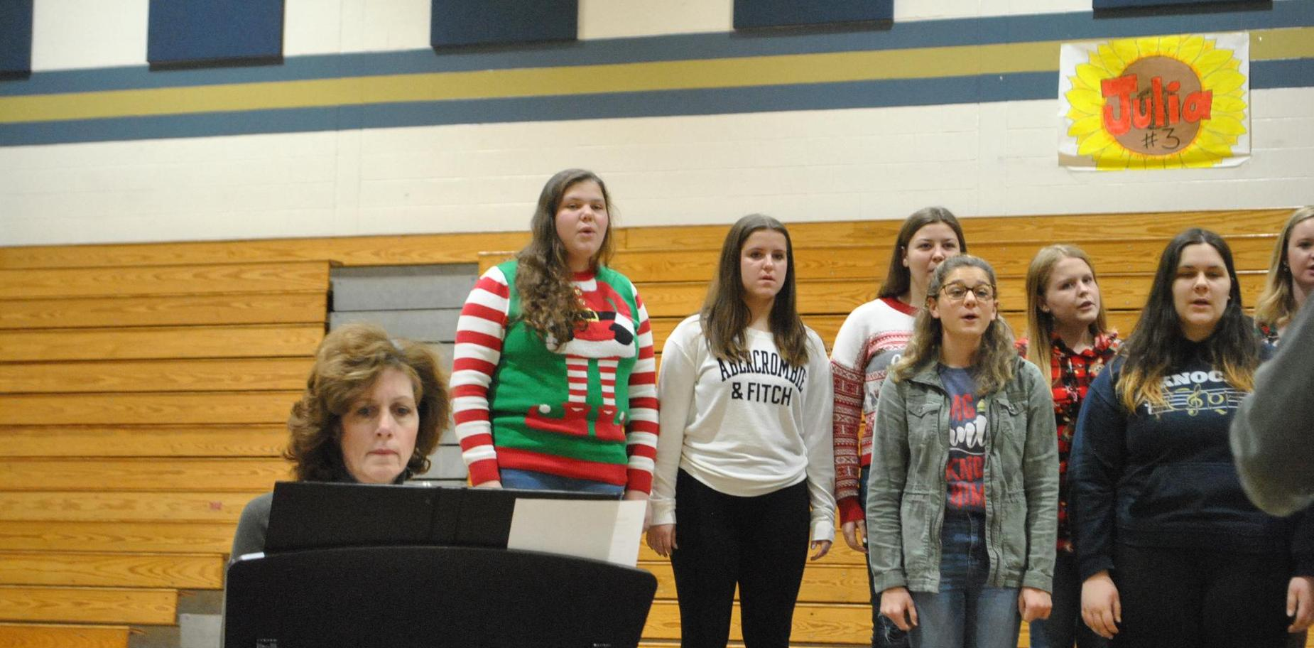 choral group in holiday music performance
