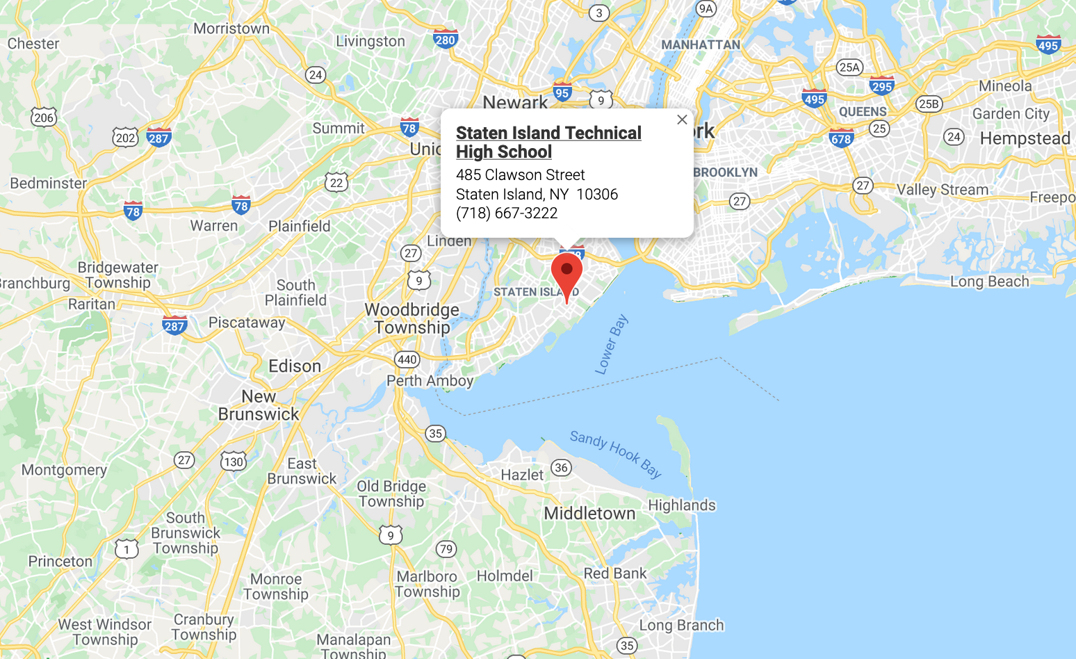 Google map of Staten Island Technical High School