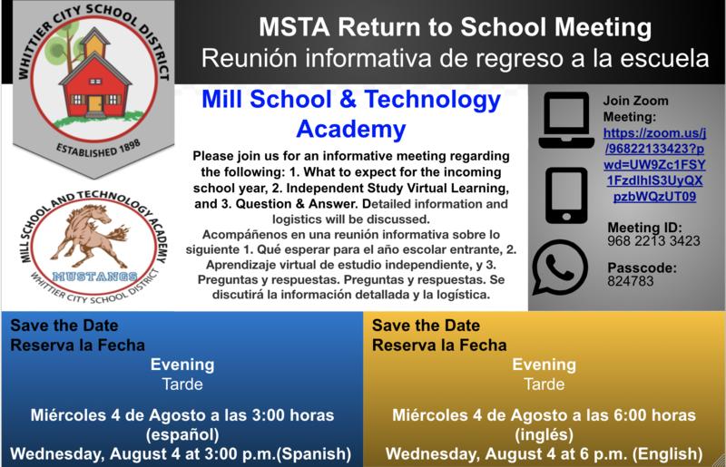 MSTA Return to School Parent Meeting