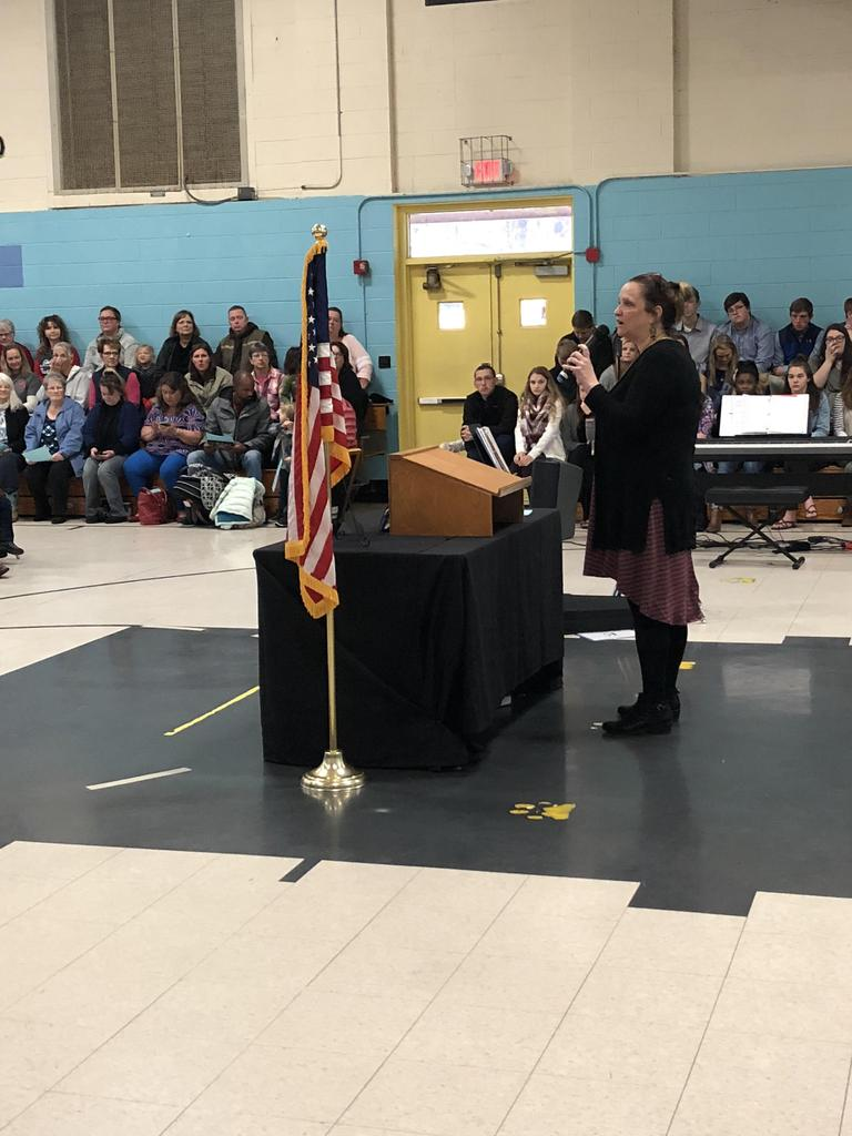 Principal, Penny Grit, speaks at RCES Veterans Day assembly