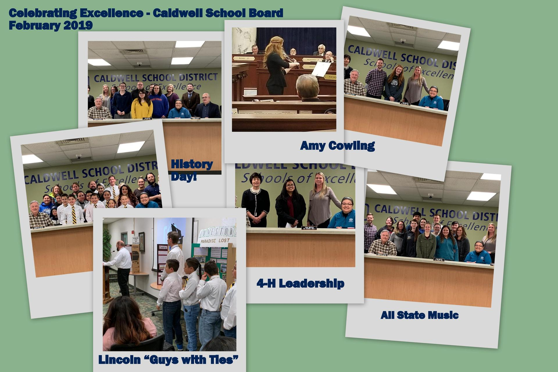 Photos of students who were recognized at meeting