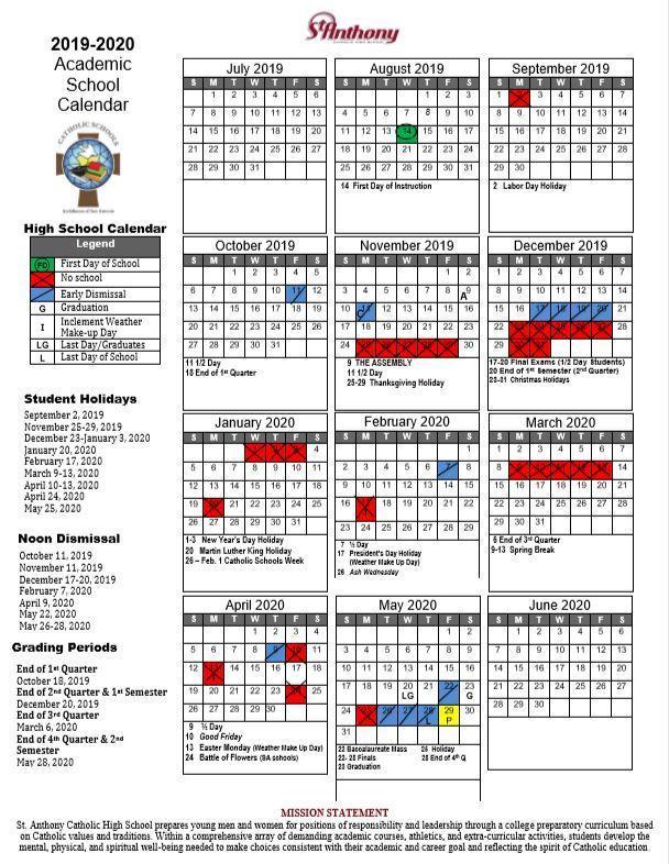 2018-2019 Calendar