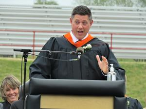 TKHS Principal Tony Petersen welcomes guests to the graduation.