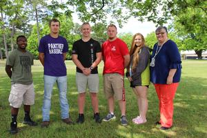 Pictured from left to right are the Batesburg-Leesville Rotary Club's Students of the Month for the 2018-2019 academic year:  James Barr, Chase Rikard, Reid Derrick, Lane Janney, and Lydia Swygert.  They are pictured with B-L High School Principal Sonya Bryant (far right).