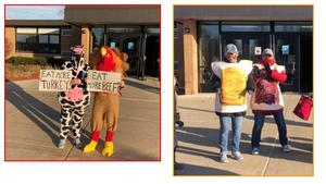 Lee greeters are dressed as a cow and turkey for Thanksgiving and a peanut butter and jelly sandwich.