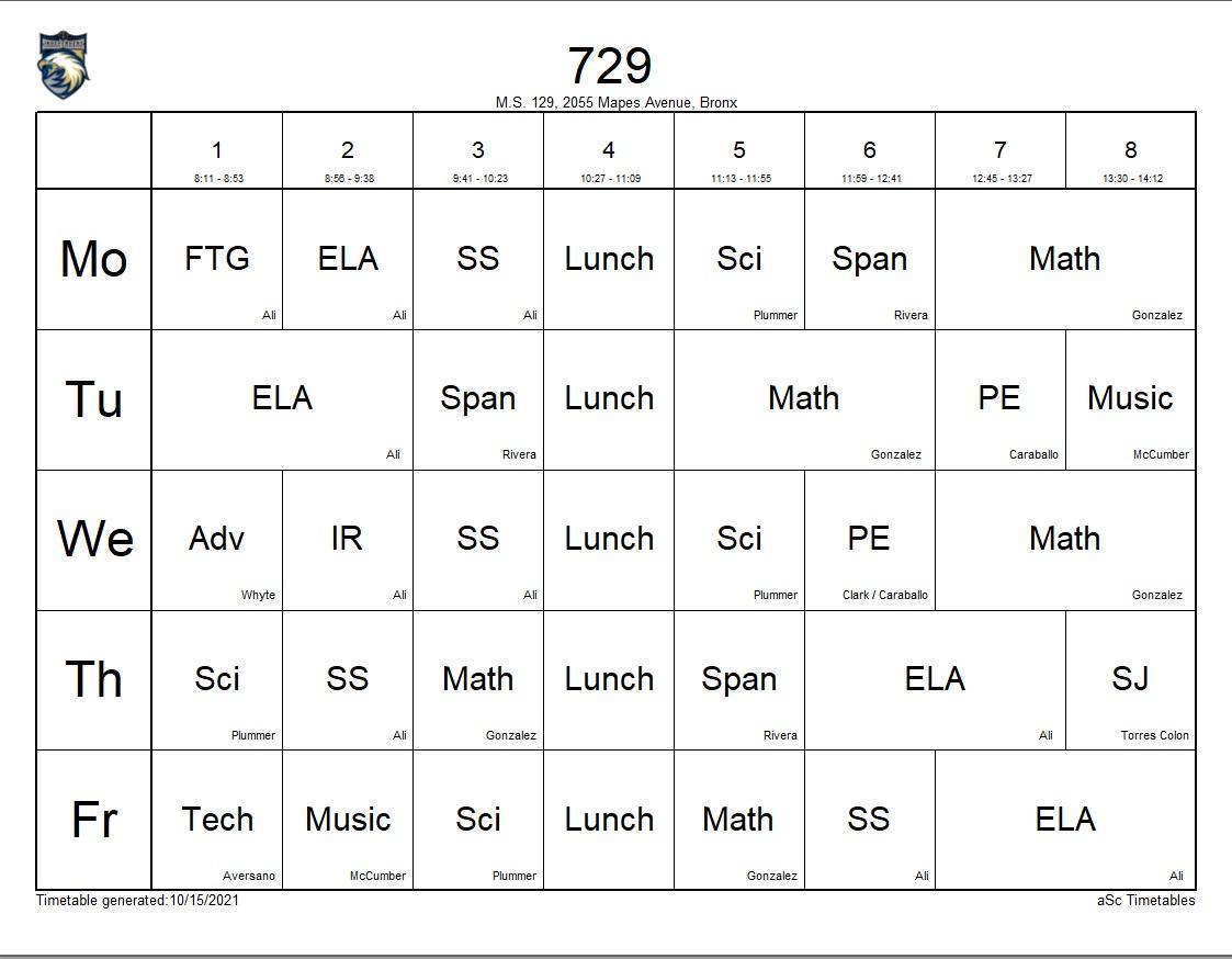 729 class schedule