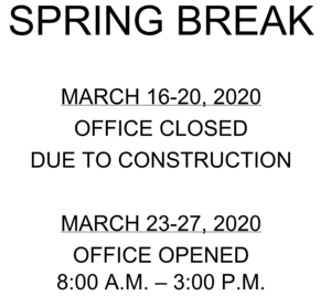 Spring Break Office Hours