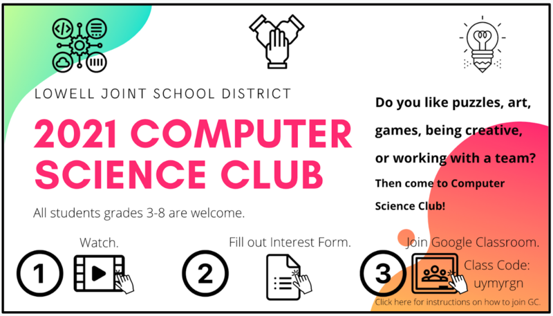 2021 LJSD Computer Science Club Featured Photo