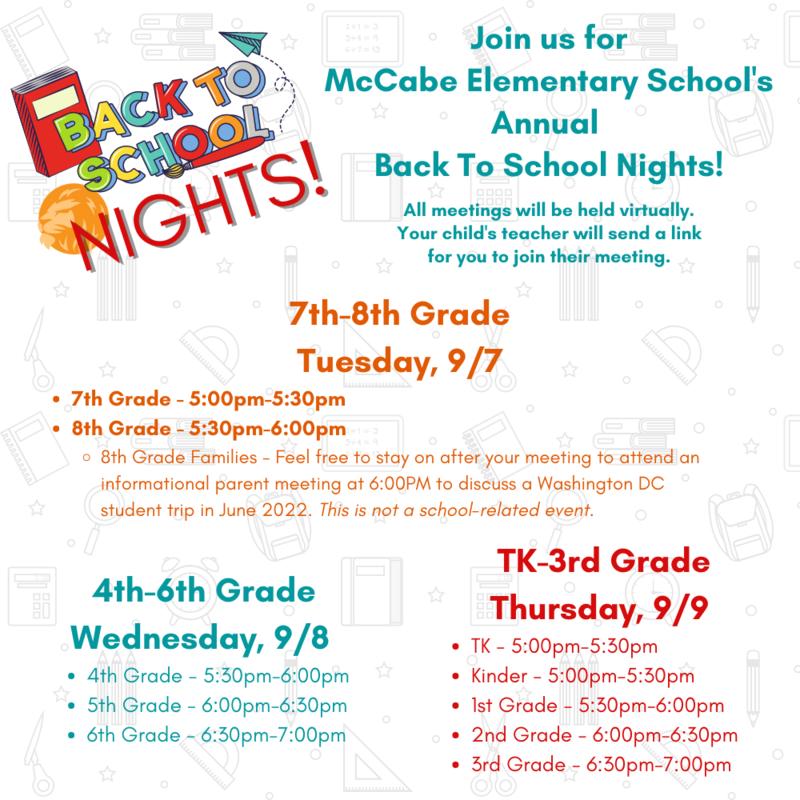 Back To School Nights! Thumbnail Image