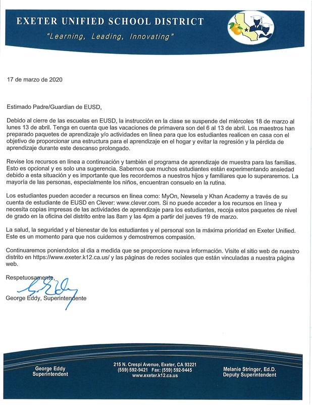 EUSD Superintendent's Open Letter to Parents- spanish