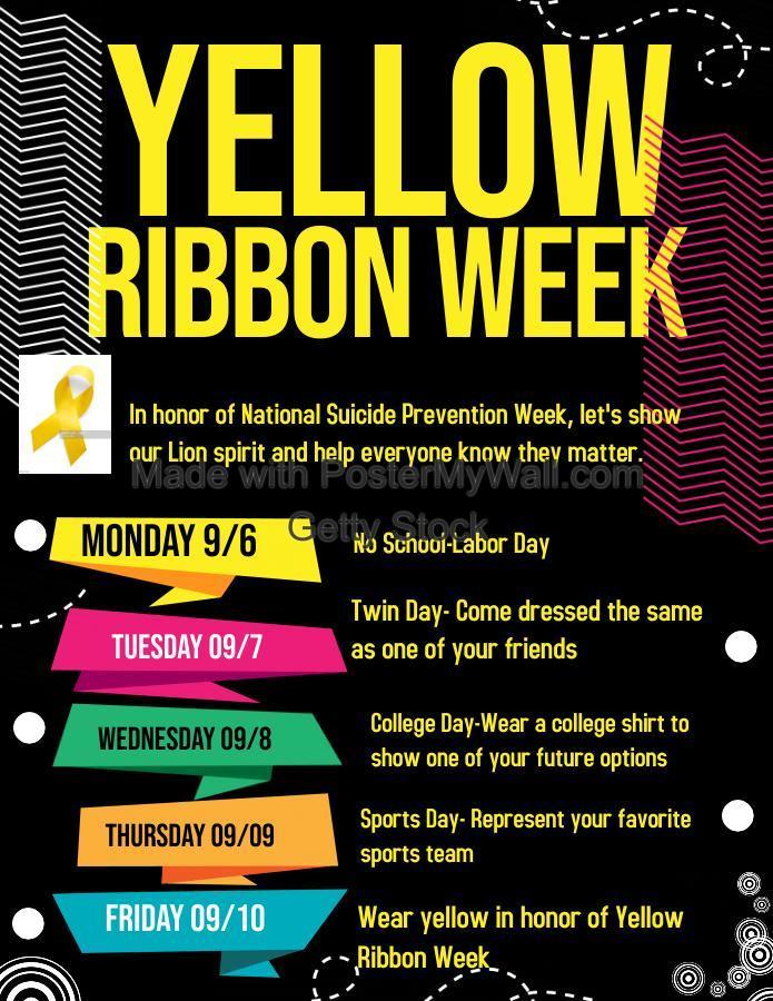 Yellow Ribbon Week Spirit Days