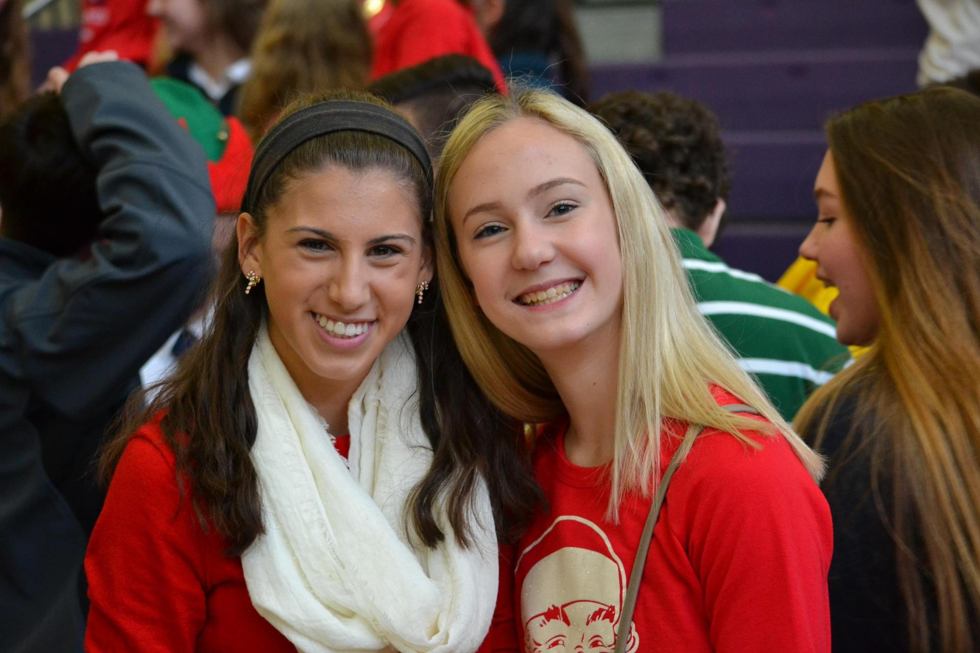 Francesca and her friend Madison at the annual Kris Kindl assembly and gift exchange!