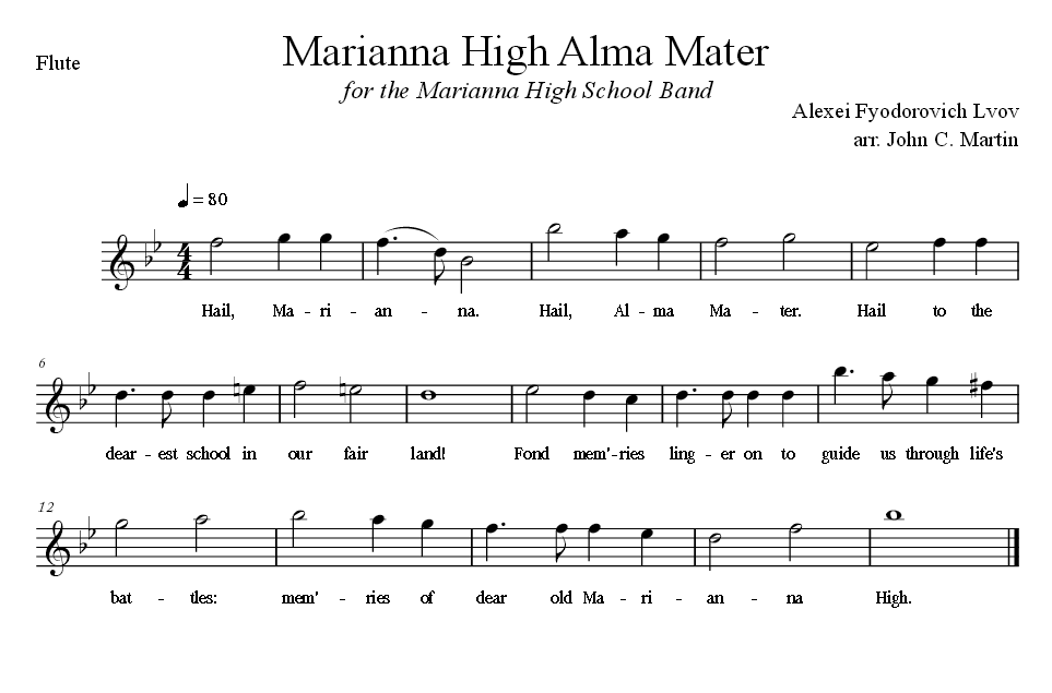 Sheet Music for Alma Mater for the Flute