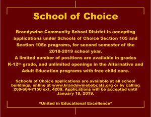 School of choice info for 2nd semester