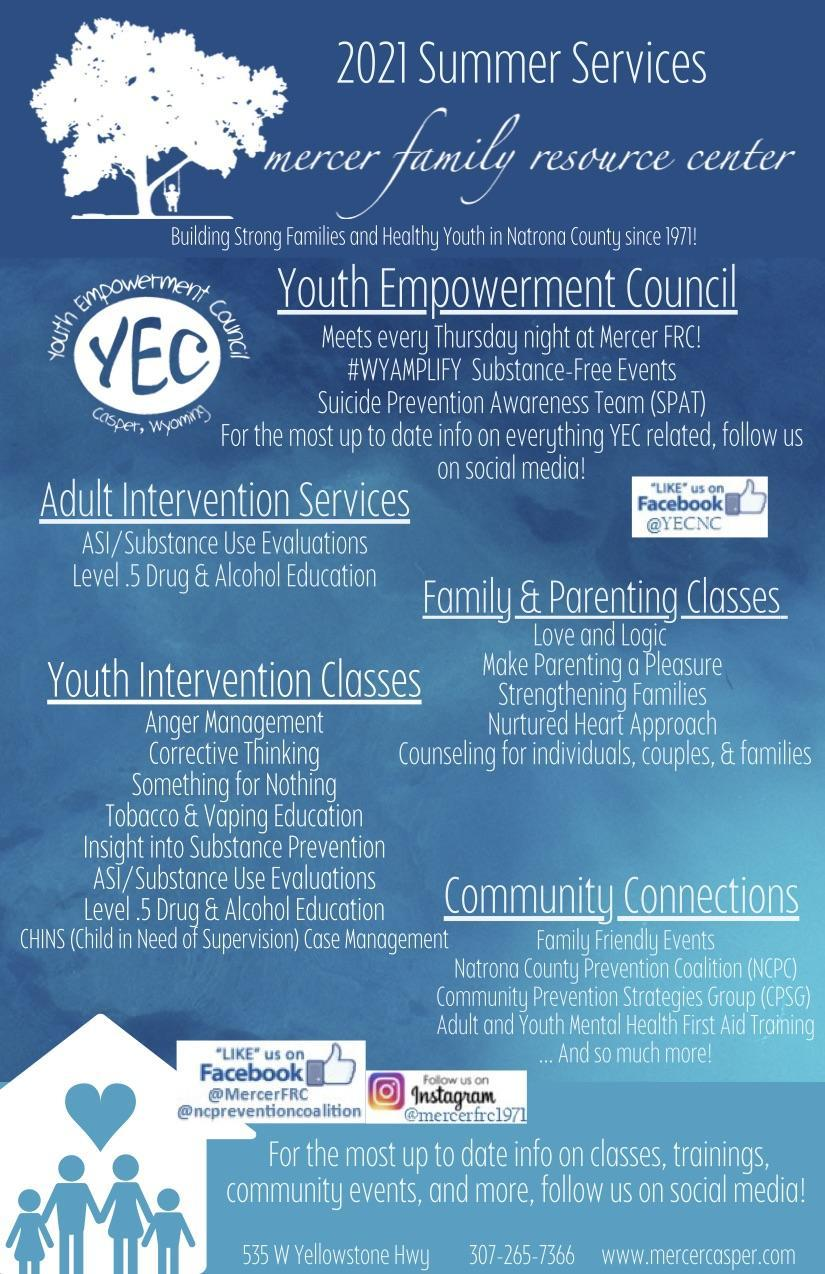 Mercer Family Resource Center Summer programs flyer