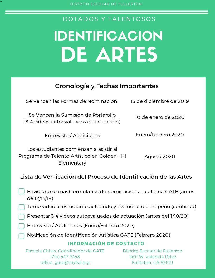 Flyer for Arts Identification (Spanish)