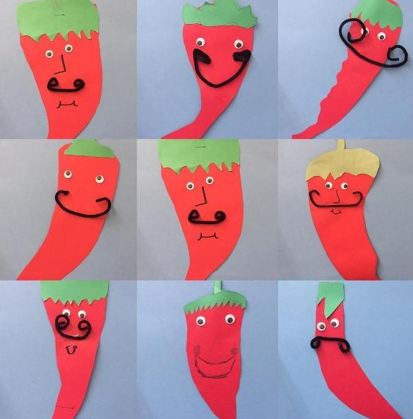 Red Peppers artistically created by 2nd grade students. All have a unique expression.