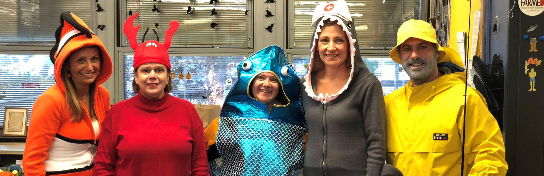 Tamaques principal David Duelks is a fisherman with his main office staff as various ocean critters for Halloween 2018.