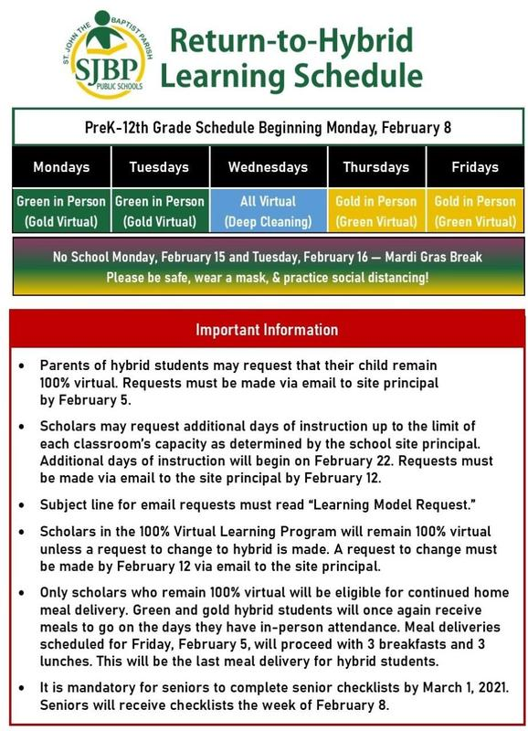 Return to Hybrid Learning Schedule