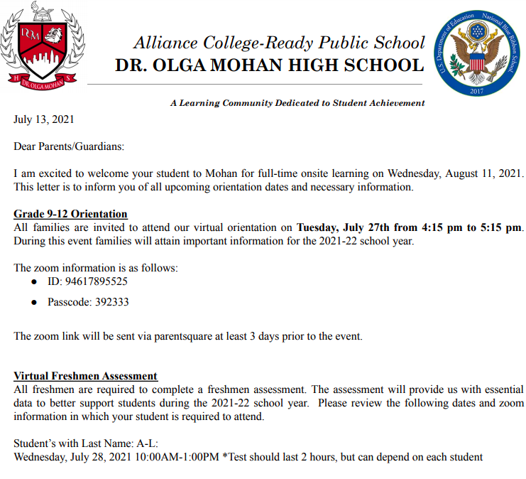 New Grade 9 Student updates and Important Information Thumbnail Image