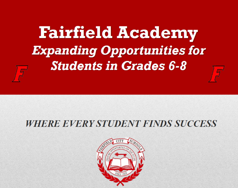 Image of the title page of a presentation to the board of education about expanding the Academy program. the image has red background with white lettering with the title.