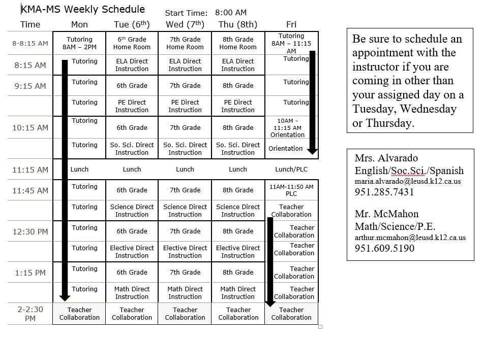KMA Middle School Schedule