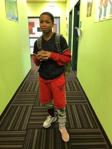 Another male student dressed for Tacky Day