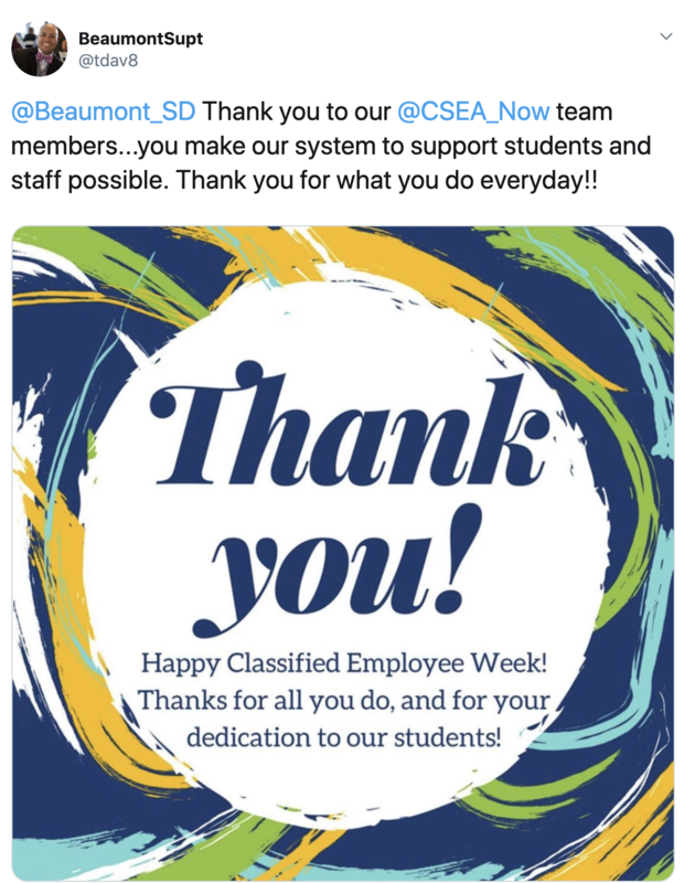 Thank you Classified Employees