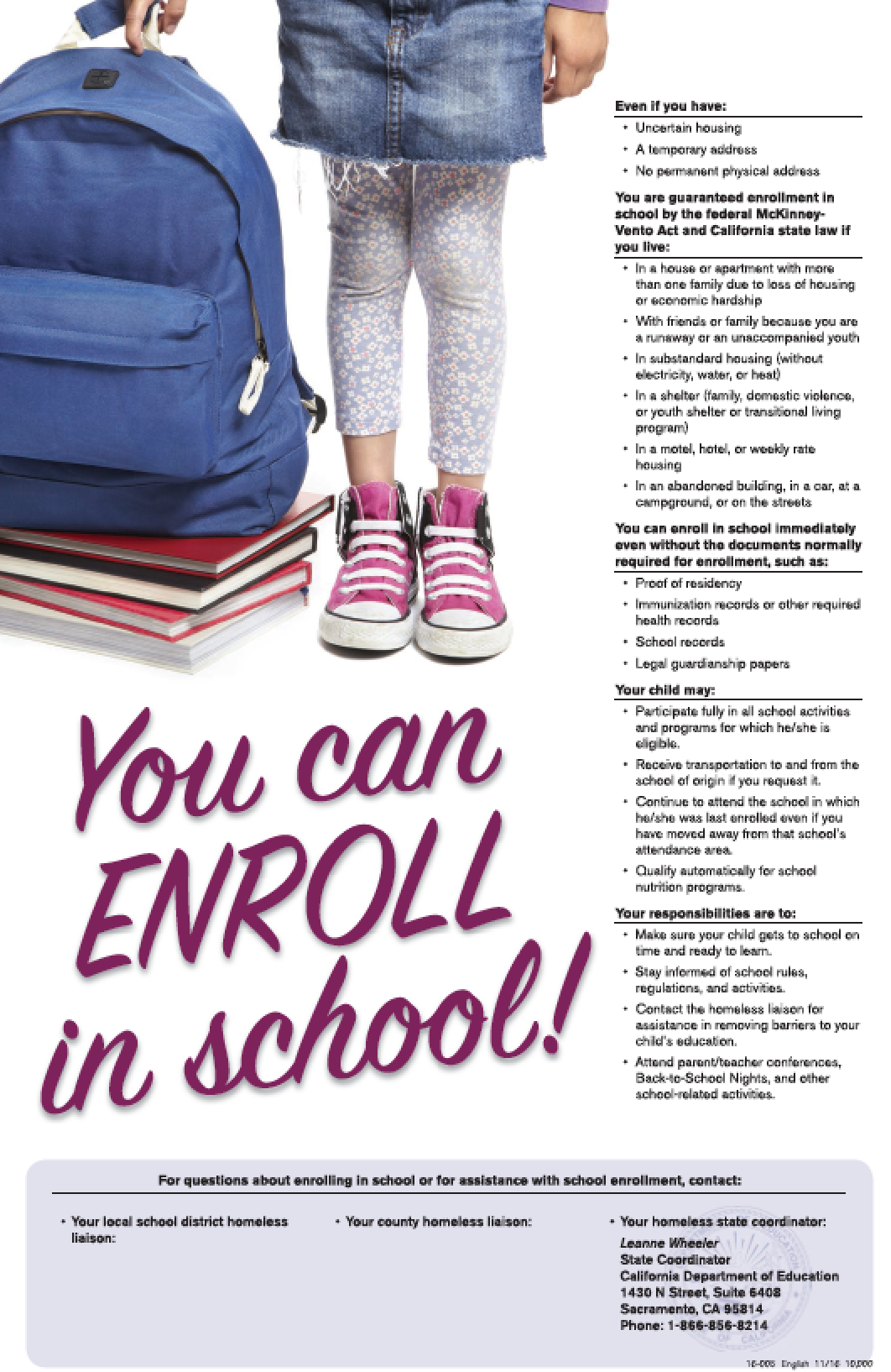 You can enroll McKinney Vento poster