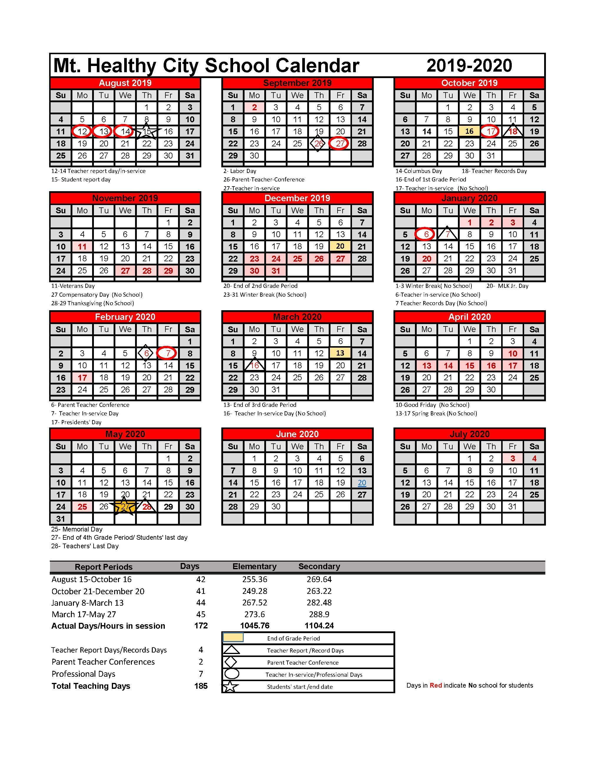 Cincinnati Public Schools Calendar.2019 2020 District Calendar 2019 2020 District Calendar Mt