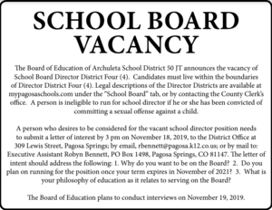school board vacancy ad