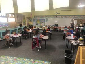 Picture of students in Kindergarten/1st classroom on first day of school.