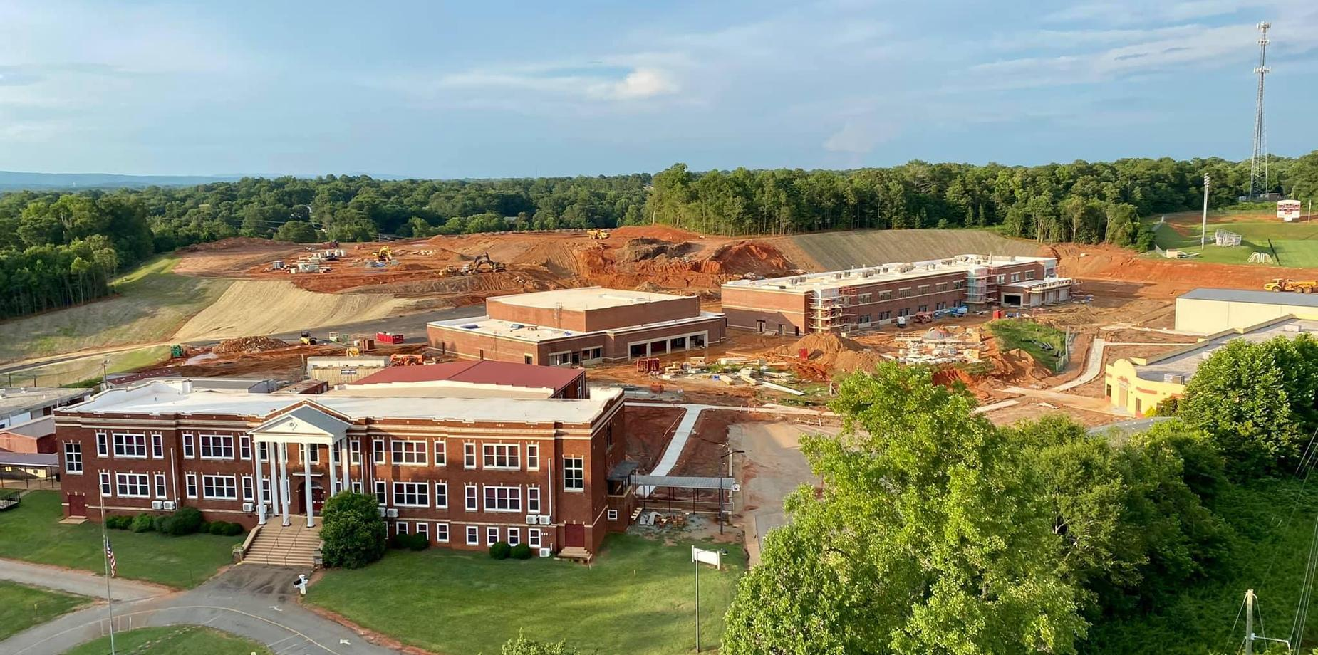 Aerial photo of the new high school construction site