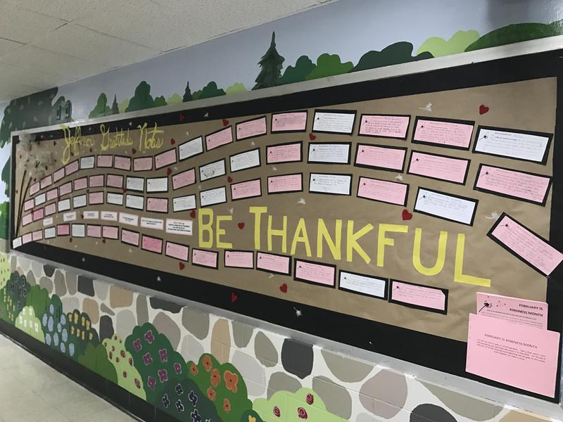 "Jefferson School marked February as ""Kindness Month"" with students and their families using the written word to express their gratitude to the school's teachers, paraprofessionals, administrators and other staff members."