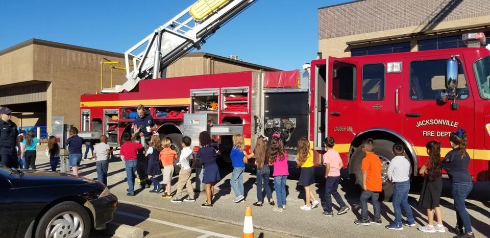 Firetruck and students