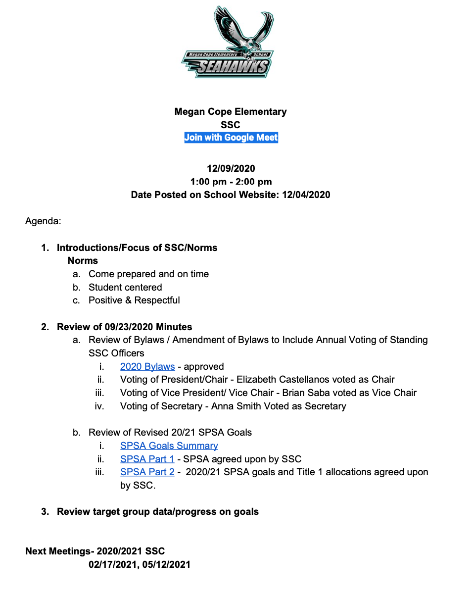 12/09/2020 School Site Council Meeting Agenda