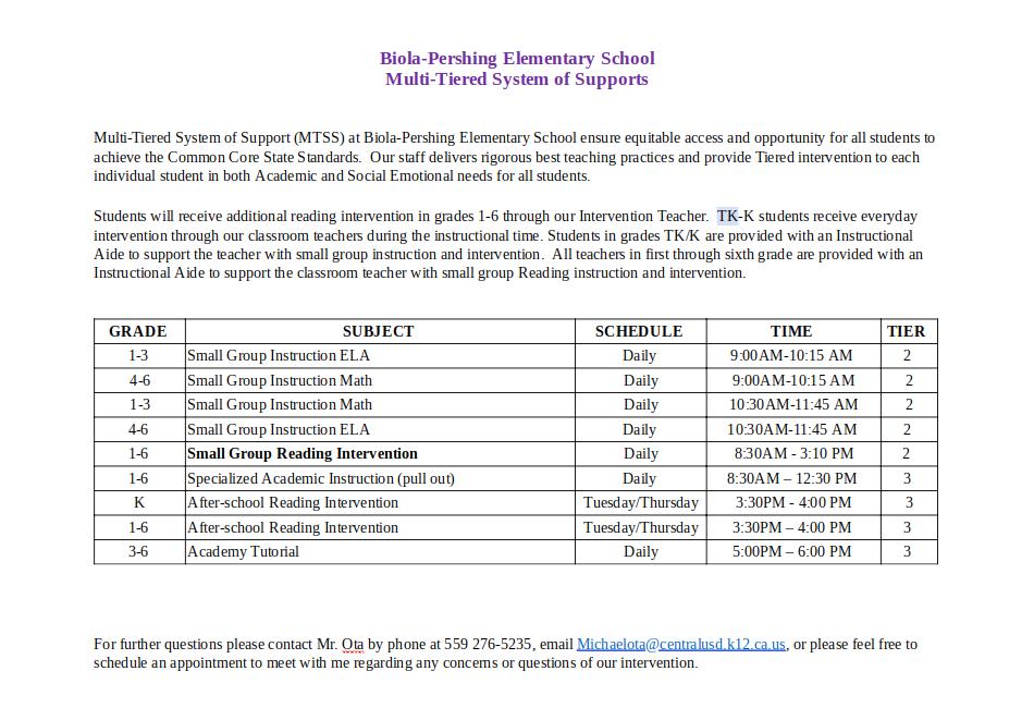 Biola Elementary Tutorial Schedule