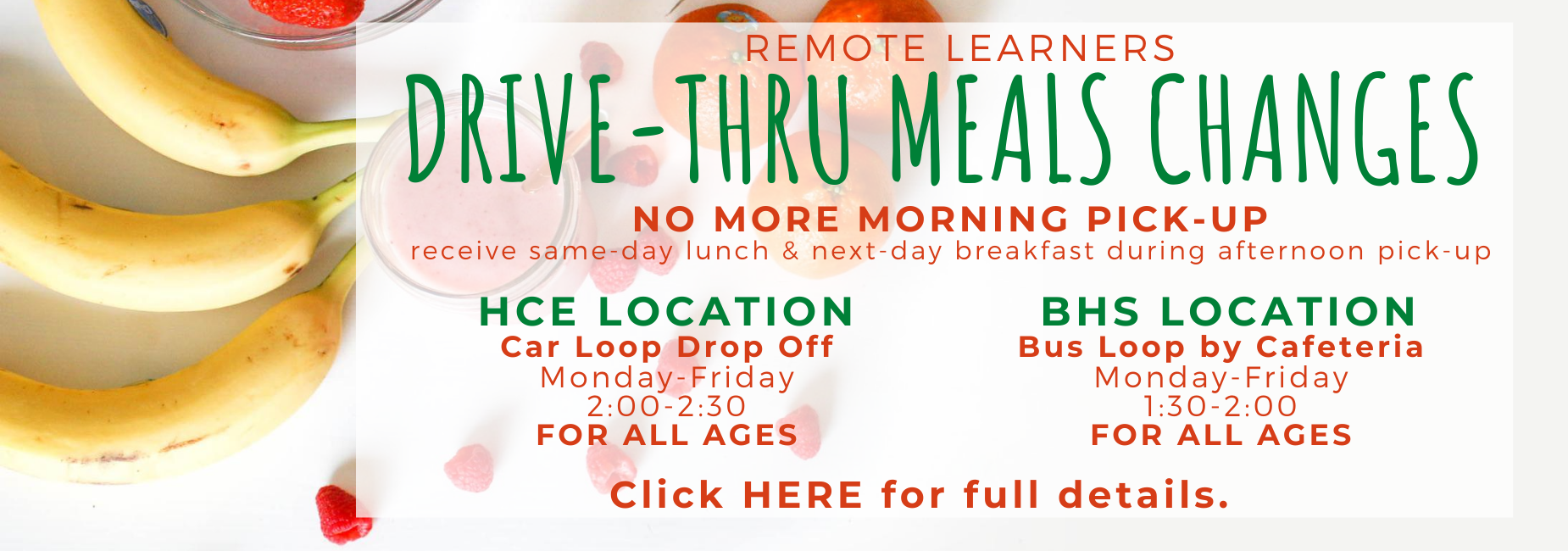 Remote Learner Drive Through Meals Available
