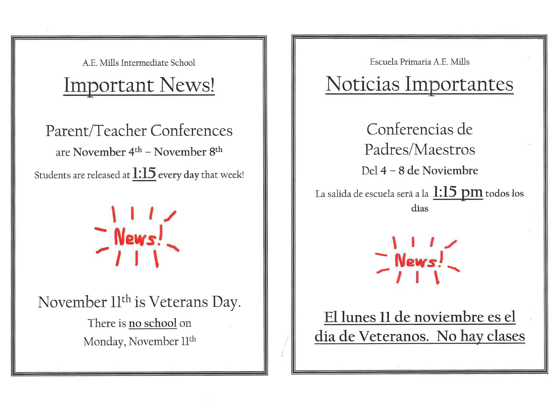 Parent Conference Minimum Days