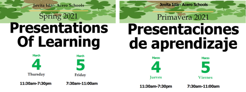 Spring Presentations of Learning- Primavera Presentaciones de Aprendizaje Featured Photo