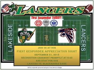 Flyer: Lakeside HS Varsity Football Salutes Firefighters and First Responders on 9/21, 6:45 p.m.