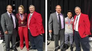 female and male student smiling with their medals from a state wrestling tournament